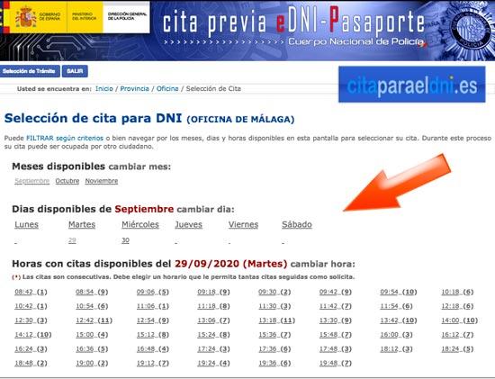 Fechas y horas disponibles para nuestra cita DNI o Pasaporte