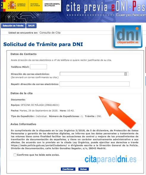 Móvil y correo electrónico donde queremos recibir la cita DNI