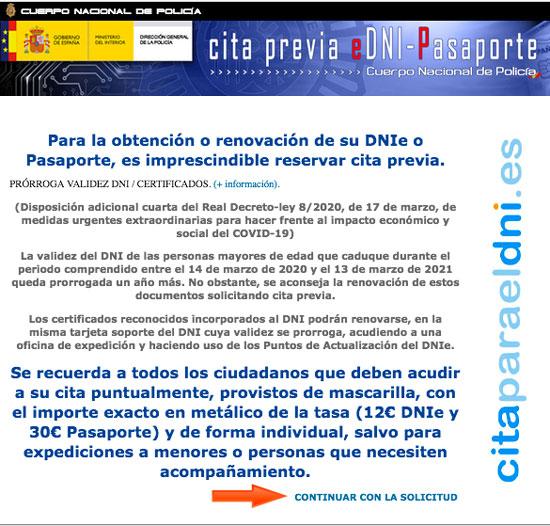 """Cita pra el DNI - Pagina de información, despues de leerla clic en """"iniciar Solicitud"""""""