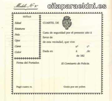 Carta de Seguridad anterior al DNI, de 1800
