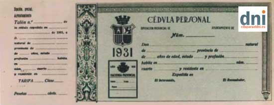 Cédula Personal del año 1931