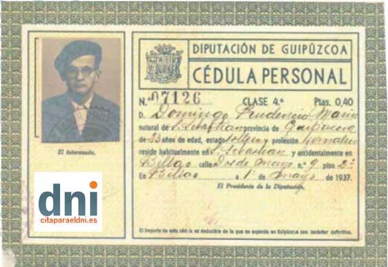 Cédula Personal del año 1937 expedida por la Diputación de Provincial de Guipúzcoa