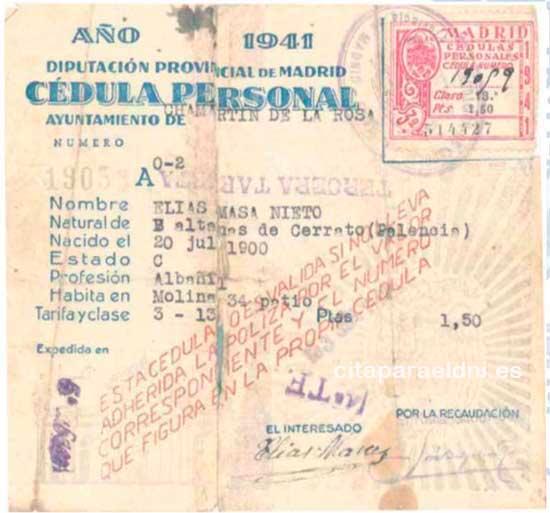 Cédula Personal del año 1941 expedida por la Diputación de Provincial de Madrid