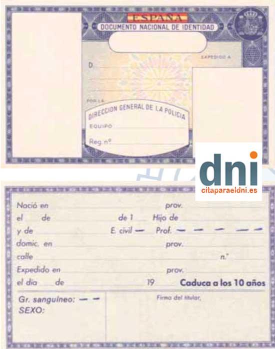 DNI Antiguo de España de 1985 a 1991