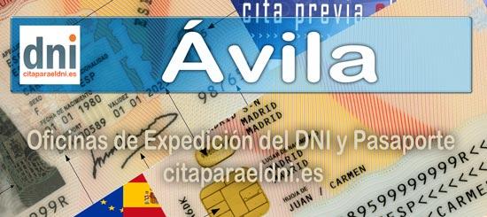 Cita previa para el DNI en Ávila – Oficina del DNI y Pasaporte - Para sacar por primera vez o renovar el DNI electronico, antiguo Carnet de Identidad, y el pasaporte