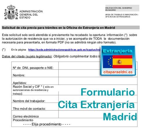 Formulario para pedir cita de huellas y extranjería en Madrid