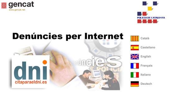 Denúncies per internet Mossos d'Esquadra