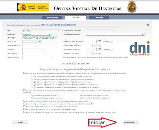 Datos de la denuncia por Internet de la perdida del DNI