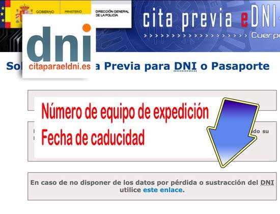 Solicitud de Equipo de Expedición y Fecha Caducidad por Perdida del DNI