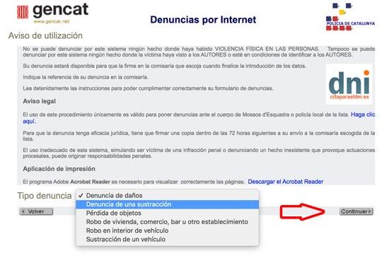 Denuncia por Internet en los Mossos d'Esquadra en Cataluña