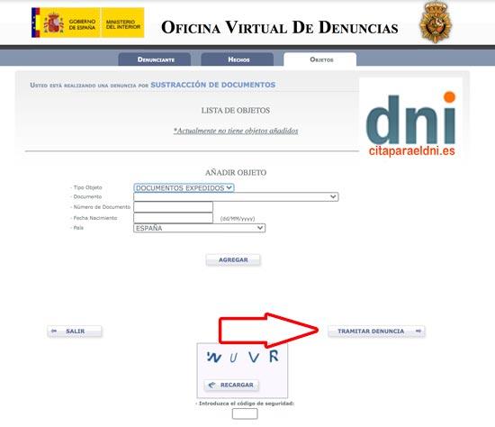Policía nacional Denuncia por internet de sustracción o robo de DNI, pasaporte, carnet de conducir y otros documentos