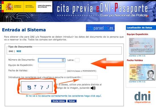 Para pedir cita DNI escribe el numero DNI, fecha de validez y equipo de expedición.