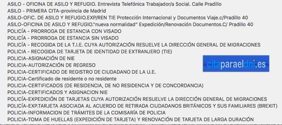 Lista de tramites de asilo, TIE y Huellas para los que hay que pedir cita en la Policía Nacional en Madrid