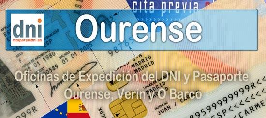 Oficinas del DNI y Pasaporte de Ourense en las Comisarías de Ourense, O Barco y Verín. Dirección, mapa de situación, horario y cita previa DNI y Pasaporte.